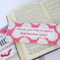Personalised Thank You Teacher Bookmark