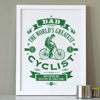 Personalised Dad's Cycling Print, Green/Sky Blue/Blue