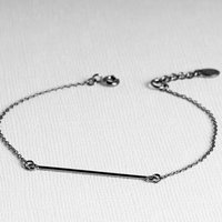 Contemporary Minimalist Sterling Silver Bar Bracelet, Silver