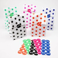 Polka Dot Party Bags With Stickers, Black/Green/Red