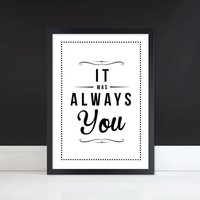 'Always You' Retro Anniversary Or Wedding Art Print, Sunshine/Mulberry/Navy