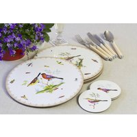 Set Of Four Exotic Bird Coasters