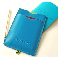 Leather Passport Sleeve With Notebook, Yellow/Cornflower Blue/Blue
