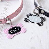Personalised Polka Dot Pet Tag Bone Shaped, Black/White/Blush