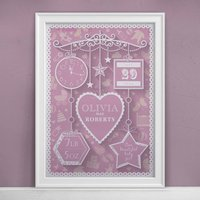 Personalised New Baby Print, Pink/Lilac/Blue