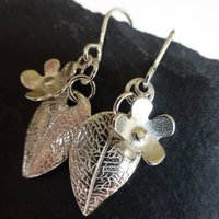 Flower And Leaf Silver Drop Earrings, Silver