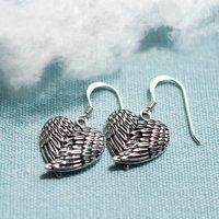 Sterling Silver Love Wings Dangly Earrings, Silver