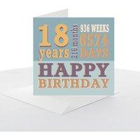 18th Typography Birthday Card