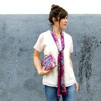 Shadow Berry Silk Clutch Bag, Silver/Gold