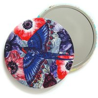 Sky Ink Silk Covered Compact Mirror