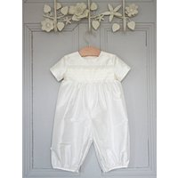 Boys Vienna Christening Romper Suit, Ivory/Baby Blue/Blue