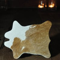 Set Of Two Cowhide Coasters