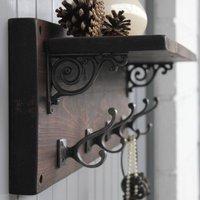 Reclaimed Wood Victorian Coat Hook Shelf