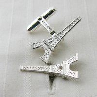 Eiffel Tower Silver Cufflinks, Silver