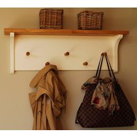 Simple Peg Rail With Oak Shelf In A Choice Of Colours, Lime/White/Grey