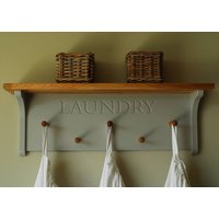 Laundry Rack With Oak Shelf And Pegs, Lime/White/Grey
