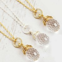 Bridesmaid Set Of Crystal Wrapped Pendant Necklaces