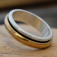 Sterling Silver And Gold Spin Ring, Silver