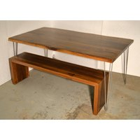 Walnut Dining Table Matching Waterfall Bench
