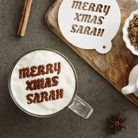Personalised Christmas Message Hot Chocolate Stencil, Purple/Lilac/Pastel Pink