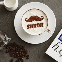 Personalised Moustache Hot Chocolate Stencil For Him, Purple/Lilac/Pastel Pink