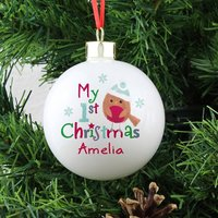 Personalised 1st Christmas Robin Bauble