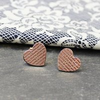 'Happily Ever After' Heart Studs, Gold/Rose Gold/Rose