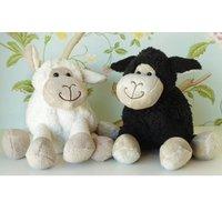 Lamb Soft Toy, Black/White/Baby Blue