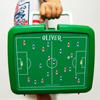 Personalised Traditional Football Lunchbox, Green/Red/Black