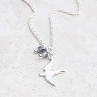 Gabi Silver Swallow And Bead Necklace, Silver
