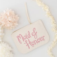 'Maid Of Honour' Canvas Pouch, Rose Pink/Rose/Pink