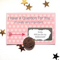 Personalised Will You Be My Bridesmaid Scratchcard, Cream/Teal/Pink