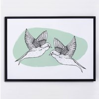 Two Swallows Illustrated Print