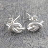 Love Knot Tiny Silver Stud Earrings, Silver
