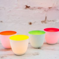 Porcelain Tea Lights, Neon, Yellow/Orange/Green