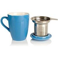 Porcelain Mug With Tea Infuser, White/Black/Chocolate