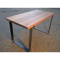 Large Walnut Dining Table Industrial Steel Base