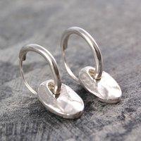 Coin Drop Silver Hoop Earrings, Silver
