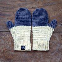 Organic Cotton Dip Dye Design Mittens, Grey/Light Yellow/Yellow