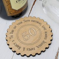 Personalised 50th Birthday Wheel Coaster Keepsake