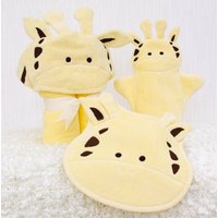 Personalised Jolly Giraffe Baby Towel Gift Set