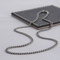 Sterling Silver Men's Curb Chain Necklace, Silver