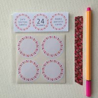 Round Floral Labelling Stickers