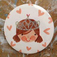 Personalised Princess Badge, Brown/Red/Black