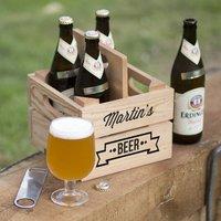 Personalised Beer Holder, Silver/Ivory/Pink