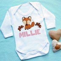 Personalised Fox Baby Vest, Pink Floral/Pink/Teal