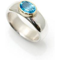 Wide Silver Ring With Semi Precious Stone, Silver