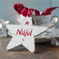 Cream Personalised Wooden Christmas Star