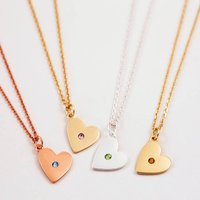 Heart Birthstone Necklace, Silver/Gold/Rose Gold