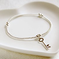 Delicate Silver Bead Bracelet With Key Charm, Silver